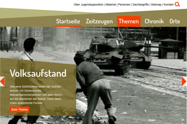 Startseite des Internetportals Jugendopposition in der DDR