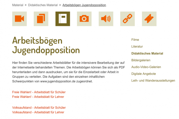 Arbeitsbögen Jugendopposition.de